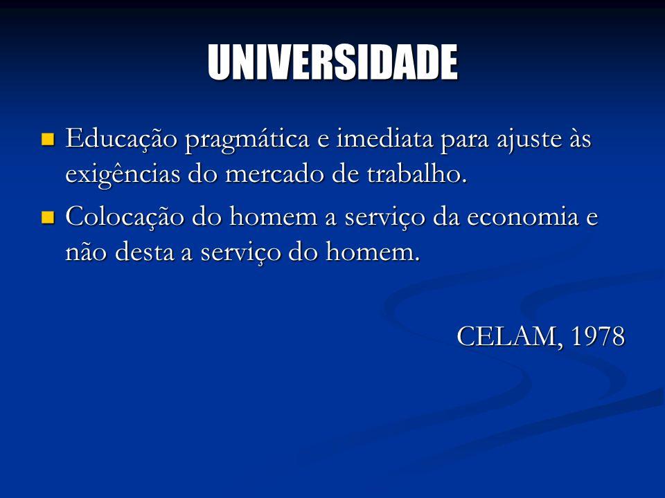UNIVERSIDADEEducação pragmática e imediata para ajuste às exigências do mercado de trabalho.