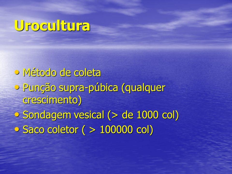 Urocultura Método de coleta Punção supra-púbica (qualquer crescimento)