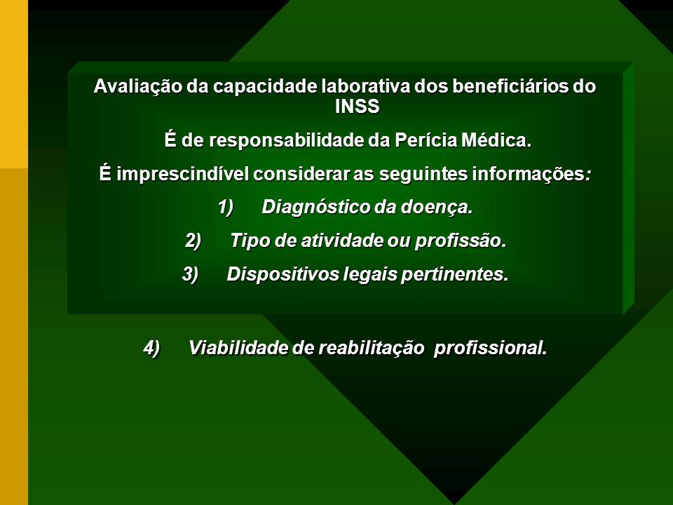 Avaliação da capacidade laborativa dos beneficiários do INSS