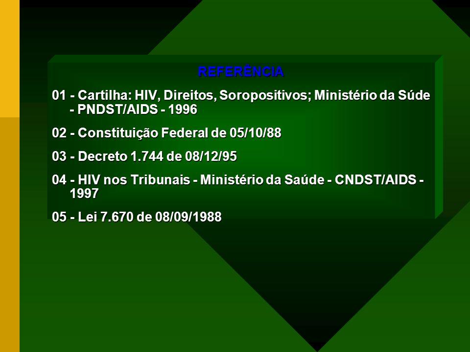 REFERÊNCIA 01 - Cartilha: HIV, Direitos, Soropositivos; Ministério da Súde - PNDST/AIDS - 1996. 02 - Constituição Federal de 05/10/88.