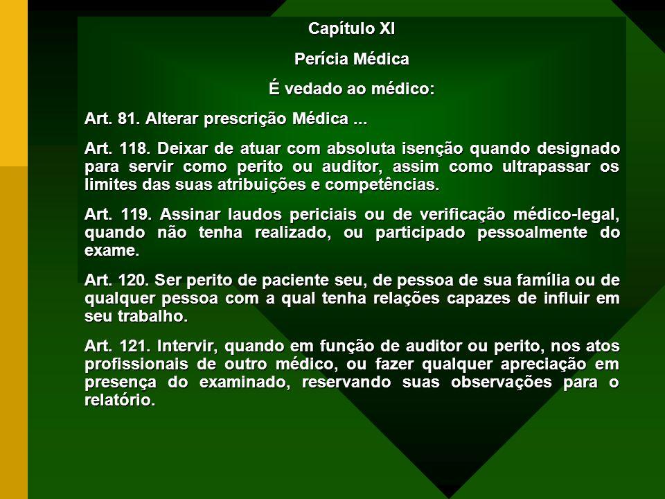 Capítulo XI Perícia Médica. É vedado ao médico: Art. 81. Alterar prescrição Médica ...