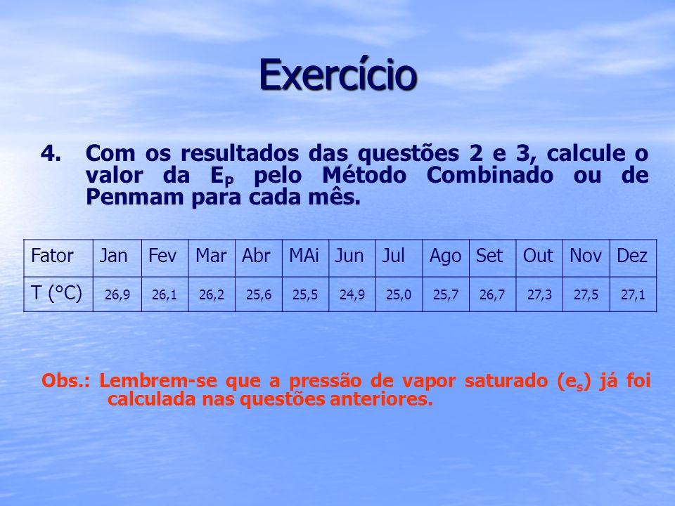 Exercício Com os resultados das questões 2 e 3, calcule o valor da EP pelo Método Combinado ou de Penmam para cada mês.