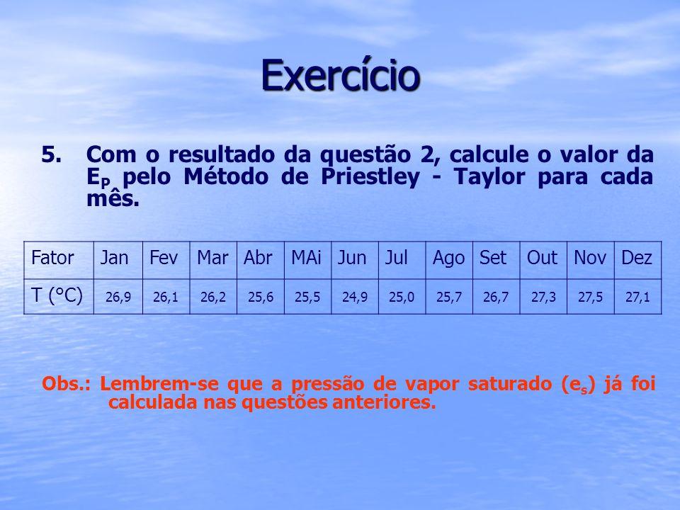 Exercício Com o resultado da questão 2, calcule o valor da EP pelo Método de Priestley - Taylor para cada mês.