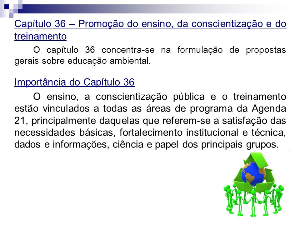 Capítulo 36 – Promoção do ensino, da conscientização e do treinamento