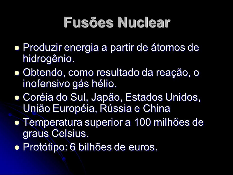 Fusões Nuclear Produzir energia a partir de átomos de hidrogênio.