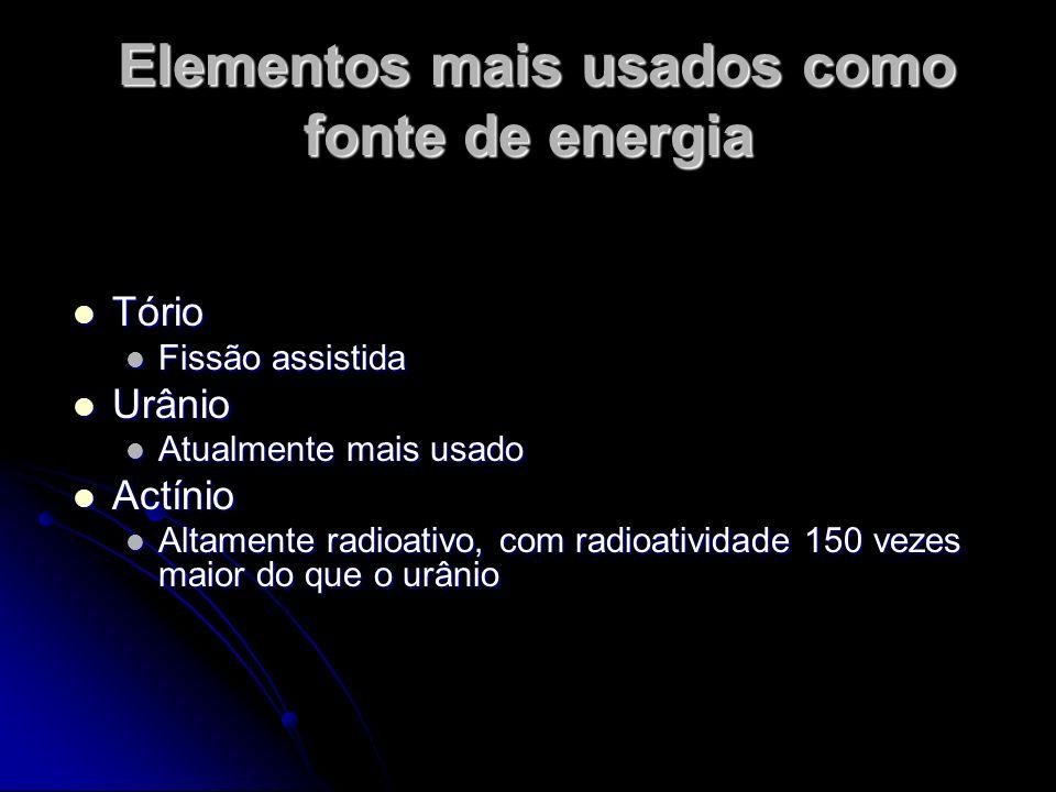 Elementos mais usados como fonte de energia