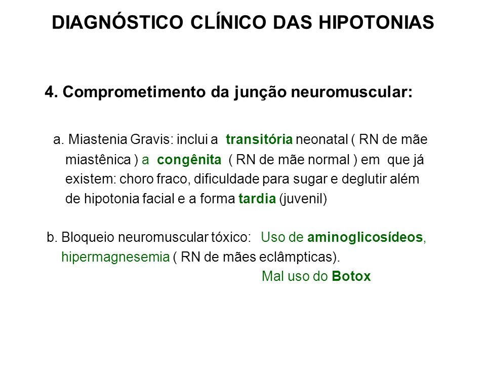 DIAGNÓSTICO CLÍNICO DAS HIPOTONIAS