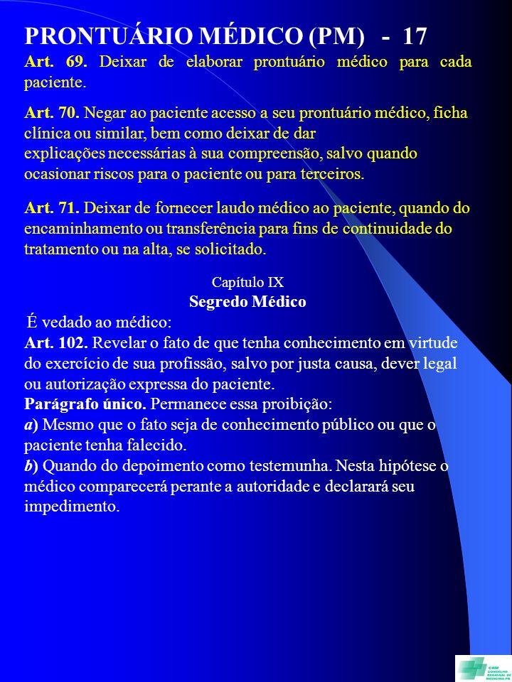 PRONTUÁRIO MÉDICO (PM) - 17