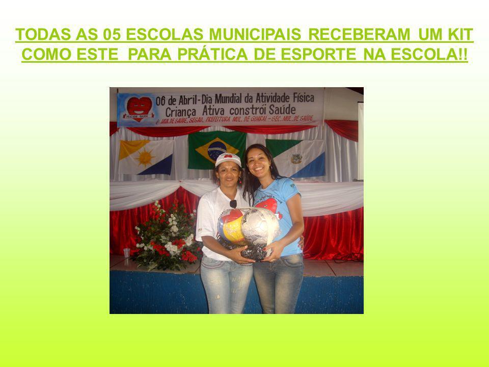 TODAS AS 05 ESCOLAS MUNICIPAIS RECEBERAM UM KIT COMO ESTE PARA PRÁTICA DE ESPORTE NA ESCOLA!!