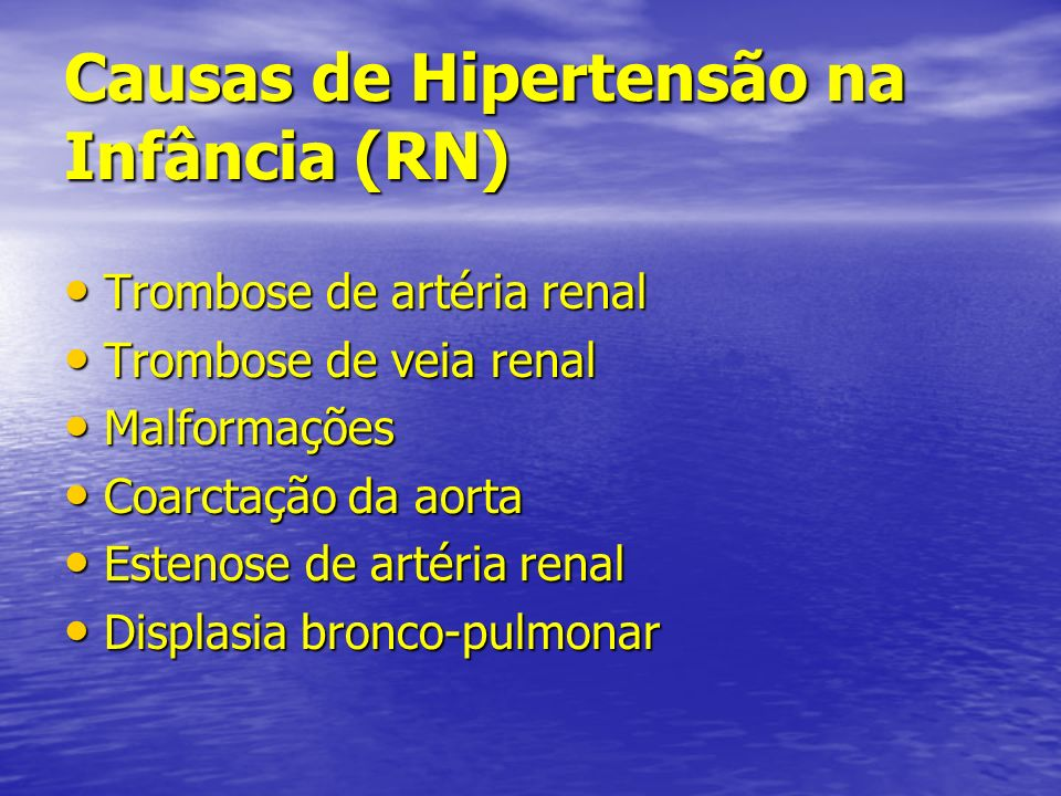 Causas de Hipertensão na Infância (RN)