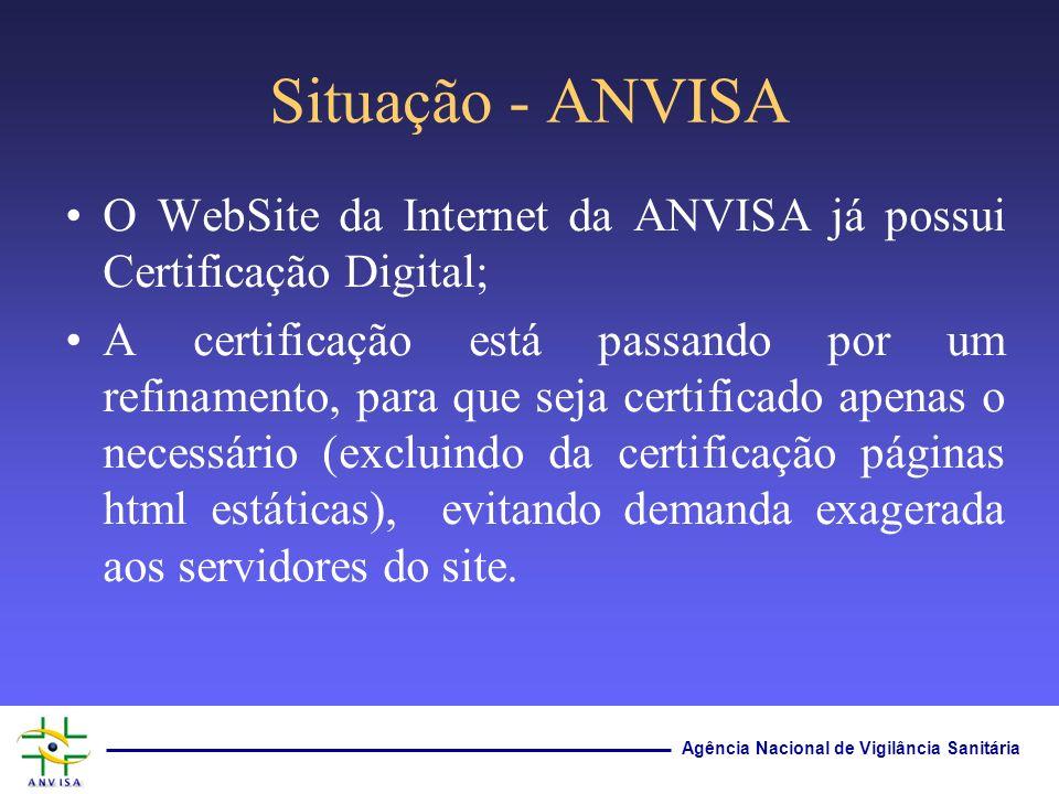 Situação - ANVISAO WebSite da Internet da ANVISA já possui Certificação Digital;