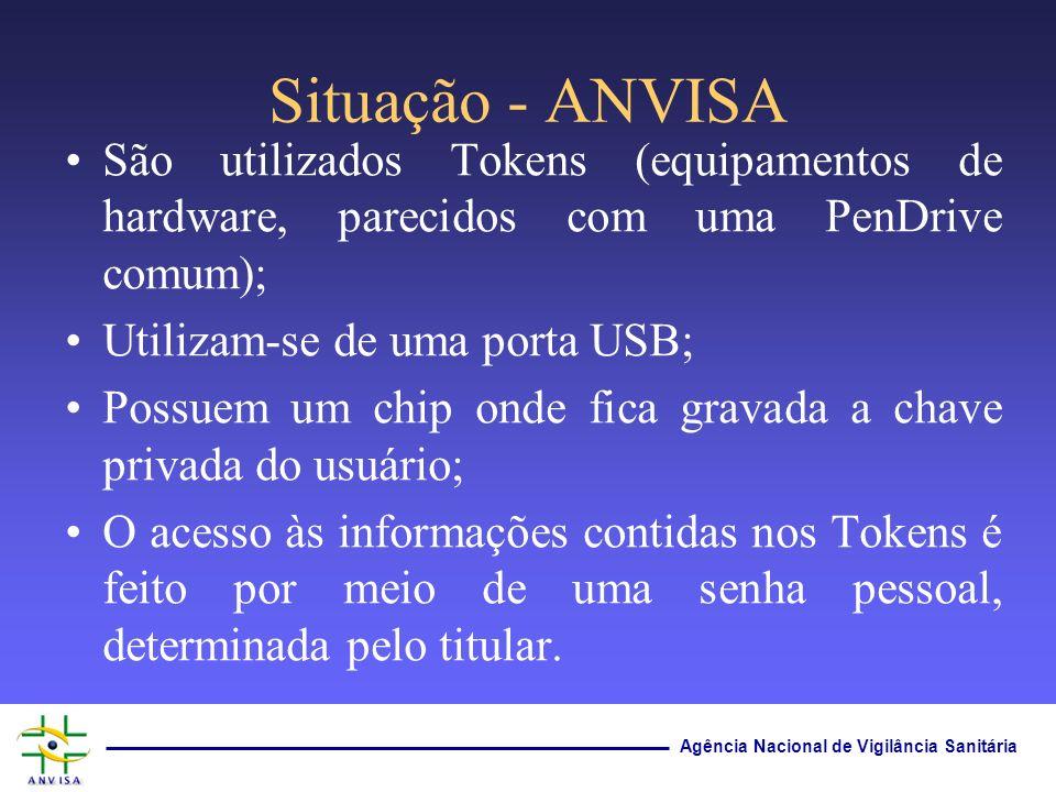 Situação - ANVISA São utilizados Tokens (equipamentos de hardware, parecidos com uma PenDrive comum);
