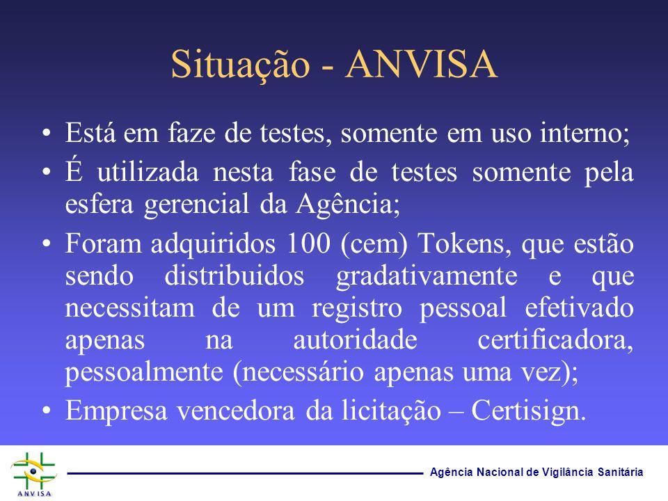 Situação - ANVISA Está em faze de testes, somente em uso interno;