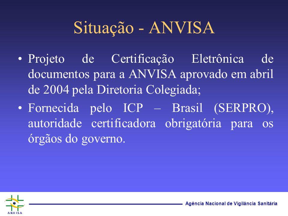 Situação - ANVISA Projeto de Certificação Eletrônica de documentos para a ANVISA aprovado em abril de 2004 pela Diretoria Colegiada;