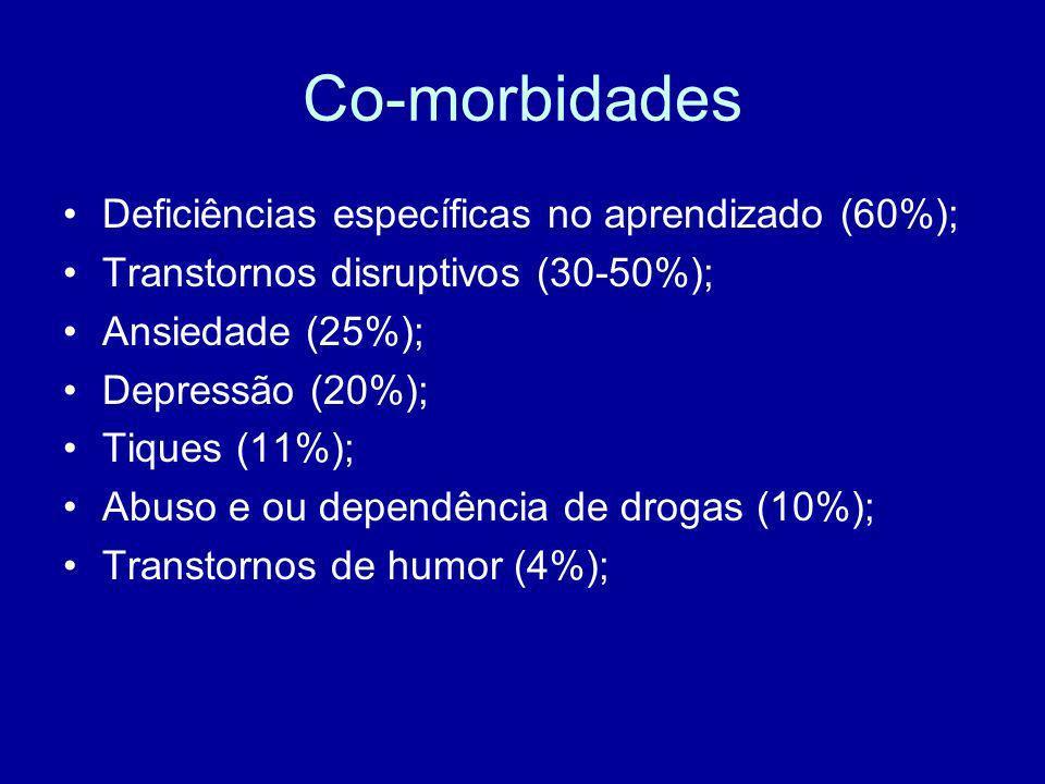 Co-morbidades Deficiências específicas no aprendizado (60%);