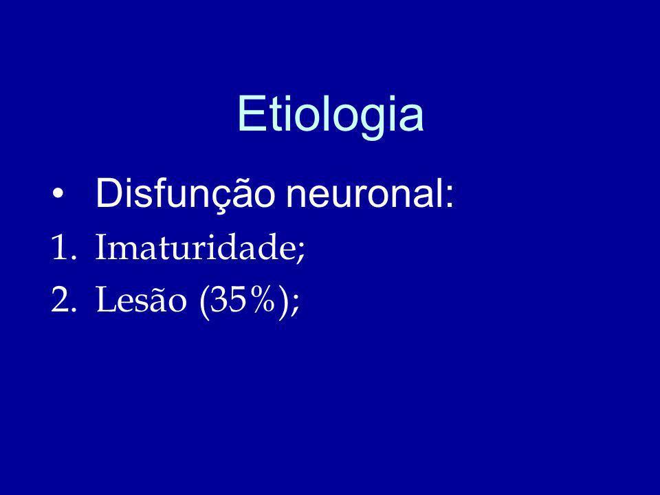 Etiologia Disfunção neuronal: Imaturidade; Lesão (35%);