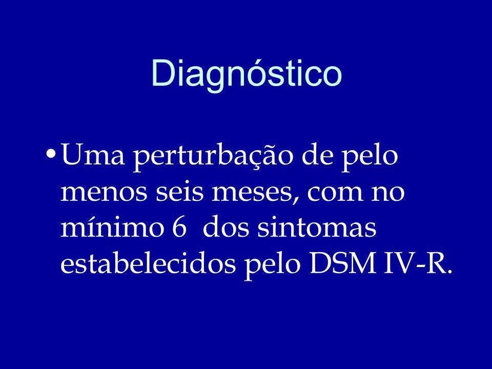 Diagnóstico Uma perturbação de pelo menos seis meses, com no mínimo 6 dos sintomas estabelecidos pelo DSM IV-R.