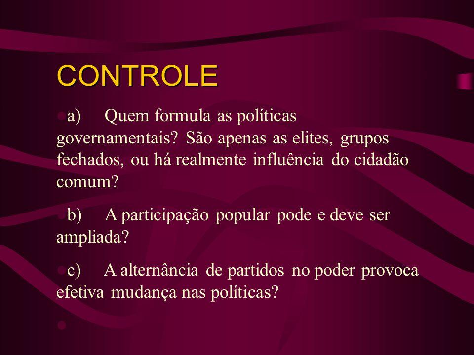 CONTROLE a) Quem formula as políticas governamentais São apenas as elites, grupos fechados, ou há realmente influência do cidadão comum