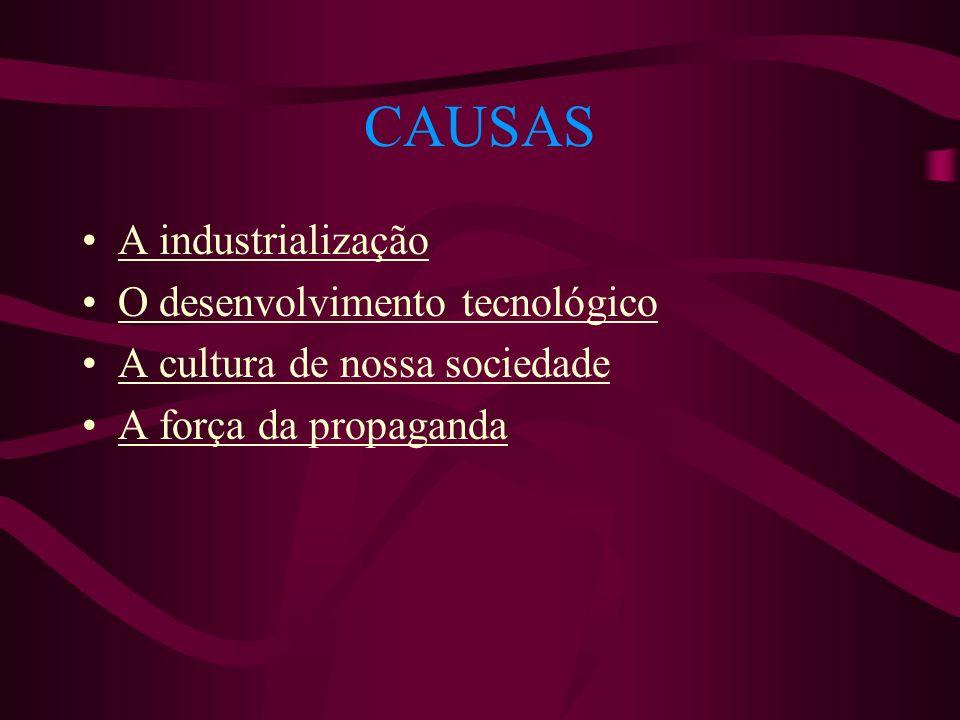 CAUSAS A industrialização O desenvolvimento tecnológico