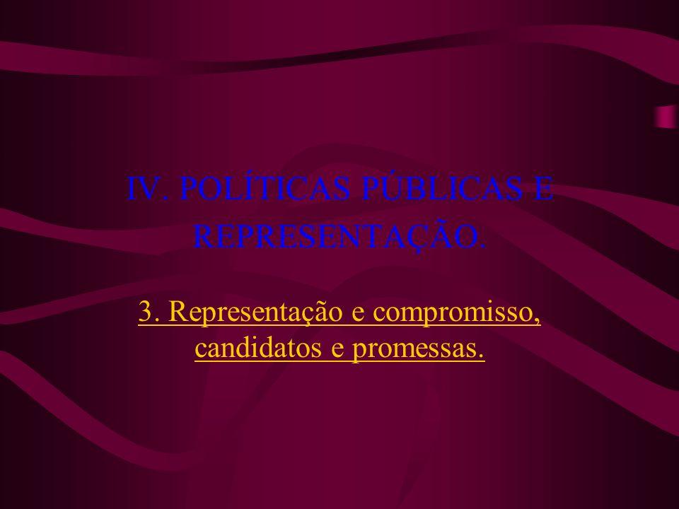 IV. POLÍTICAS PÚBLICAS E REPRESENTAÇÃO.