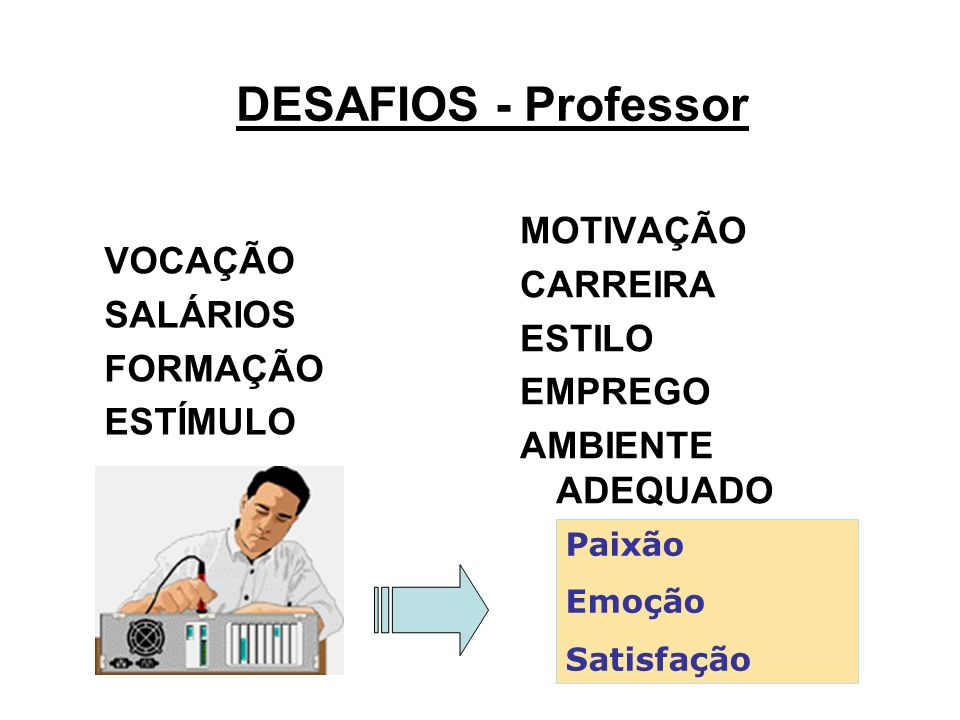 DESAFIOS - Professor MOTIVAÇÃO CARREIRA VOCAÇÃO ESTILO SALÁRIOS