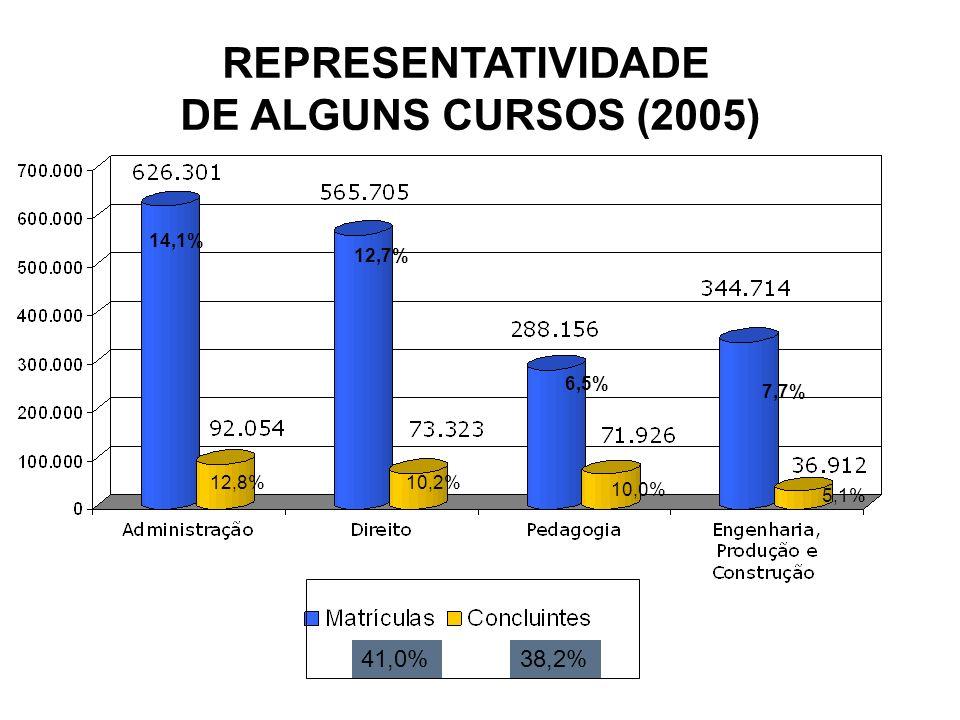 REPRESENTATIVIDADE DE ALGUNS CURSOS (2005)
