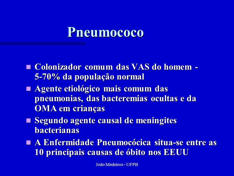 Pneumococo Colonizador comum das VAS do homem - 5-70% da população normal.