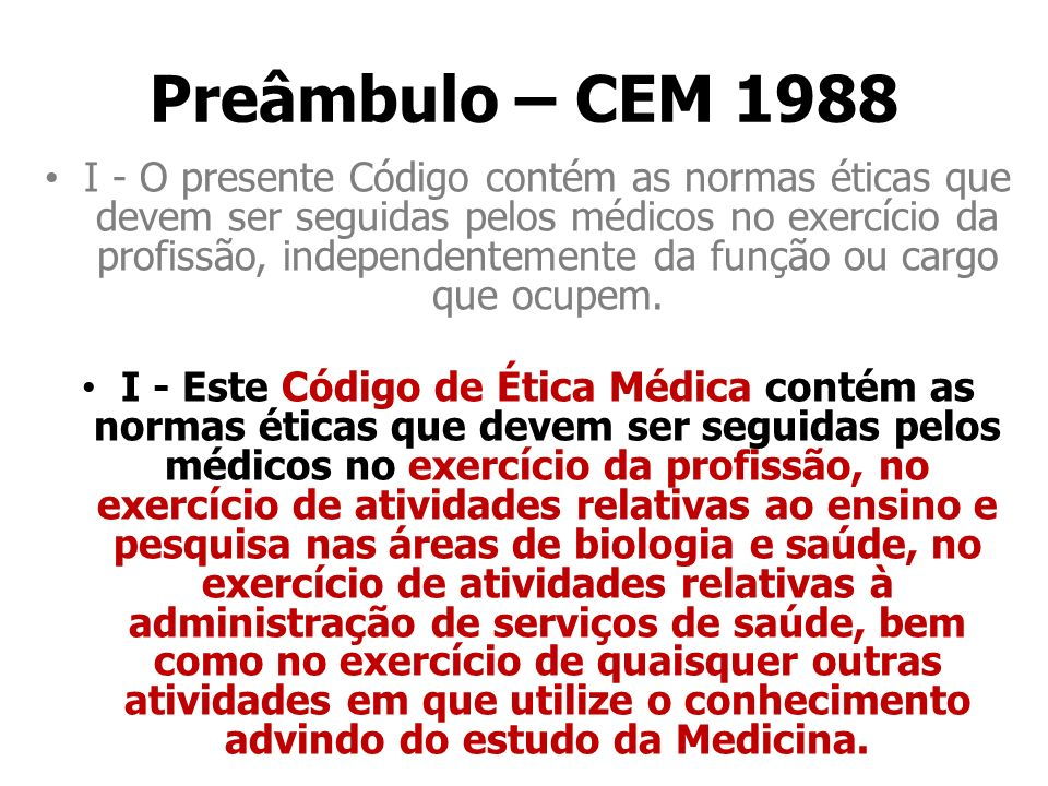 Preâmbulo – CEM 1988