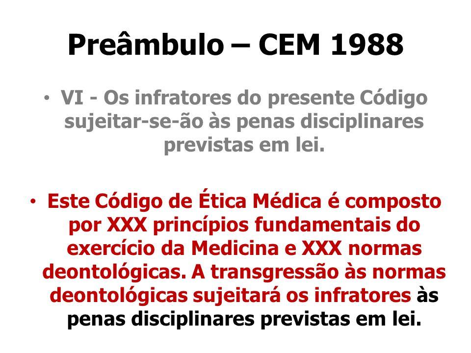 Preâmbulo – CEM 1988VI - Os infratores do presente Código sujeitar-se-ão às penas disciplinares previstas em lei.
