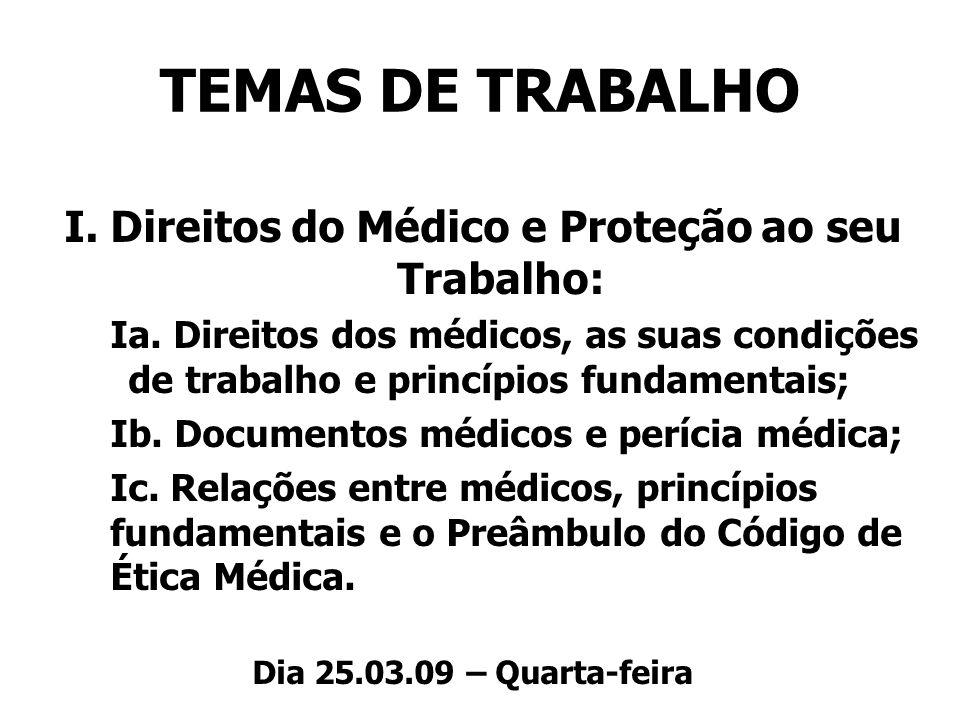 I. Direitos do Médico e Proteção ao seu Trabalho: