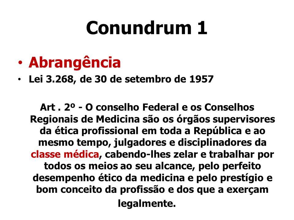 Conundrum 1 Abrangência Lei 3.268, de 30 de setembro de 1957