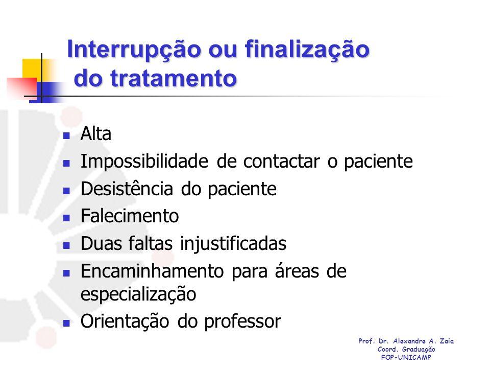 Interrupção ou finalização do tratamento