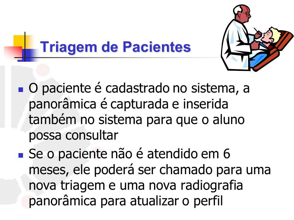Triagem de Pacientes O paciente é cadastrado no sistema, a panorâmica é capturada e inserida também no sistema para que o aluno possa consultar.