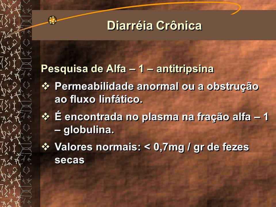 Diarréia Crônica Pesquisa de Alfa – 1 – antitripsina