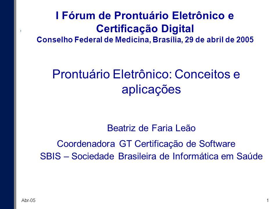 Prontuário Eletrônico: Conceitos e aplicações Beatriz de Faria Leão