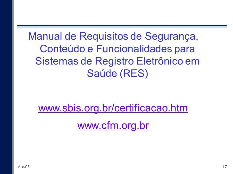 Manual de Requisitos de Segurança, Conteúdo e Funcionalidades para Sistemas de Registro Eletrônico em Saúde (RES)