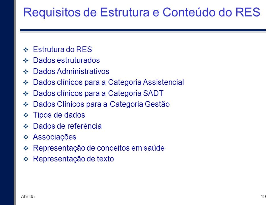 Requisitos de Estrutura e Conteúdo do RES