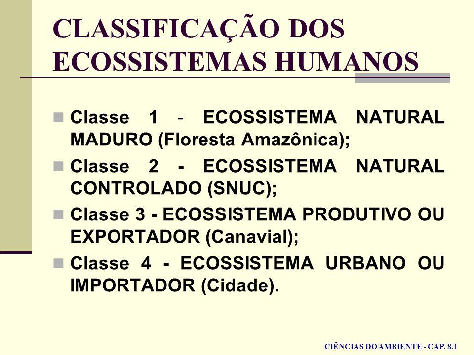 CLASSIFICAÇÃO DOS ECOSSISTEMAS HUMANOS