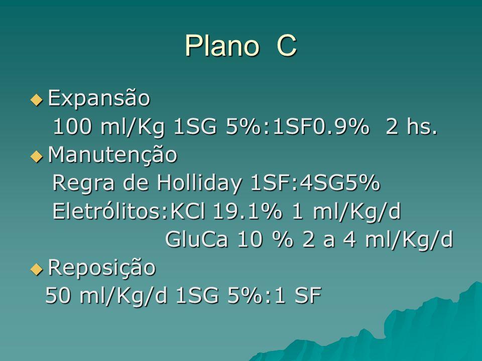 Plano C Expansão 100 ml/Kg 1SG 5%:1SF0.9% 2 hs. Manutenção