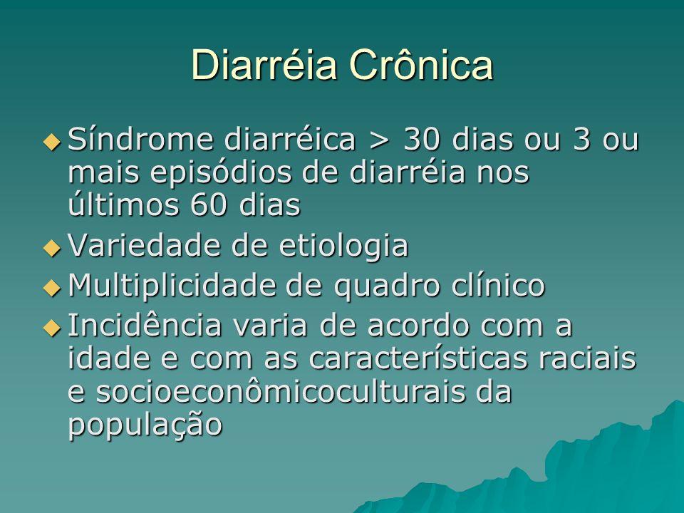 Diarréia Crônica Síndrome diarréica > 30 dias ou 3 ou mais episódios de diarréia nos últimos 60 dias.