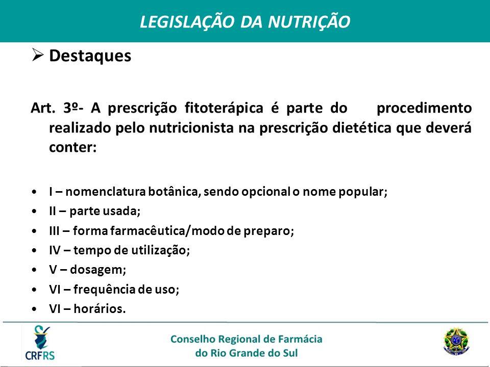 LEGISLAÇÃO DA NUTRIÇÃO