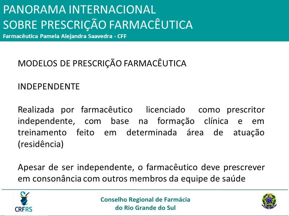 PANORAMA INTERNACIONAL SOBRE PRESCRIÇÃO FARMACÊUTICA