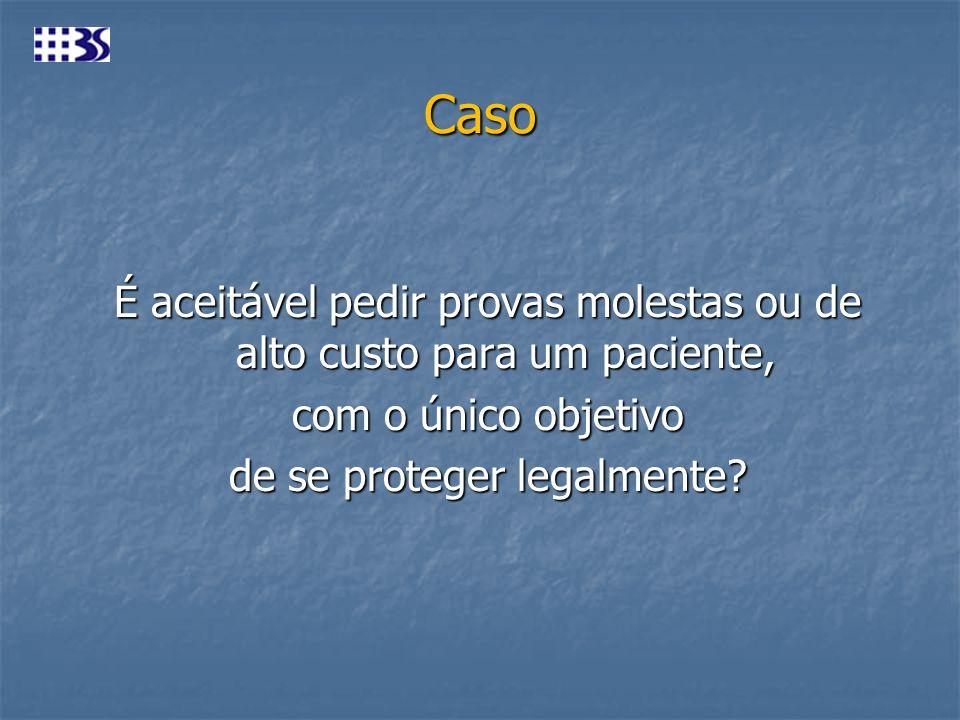 Caso É aceitável pedir provas molestas ou de alto custo para um paciente, com o único objetivo de se proteger legalmente.