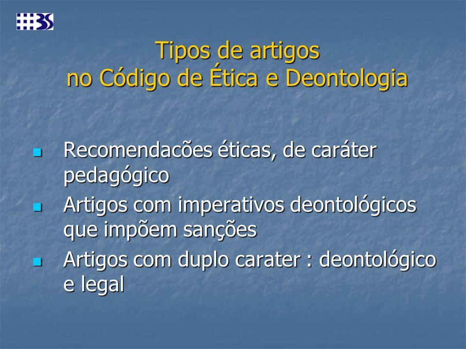 Tipos de artigos no Código de Ética e Deontologia