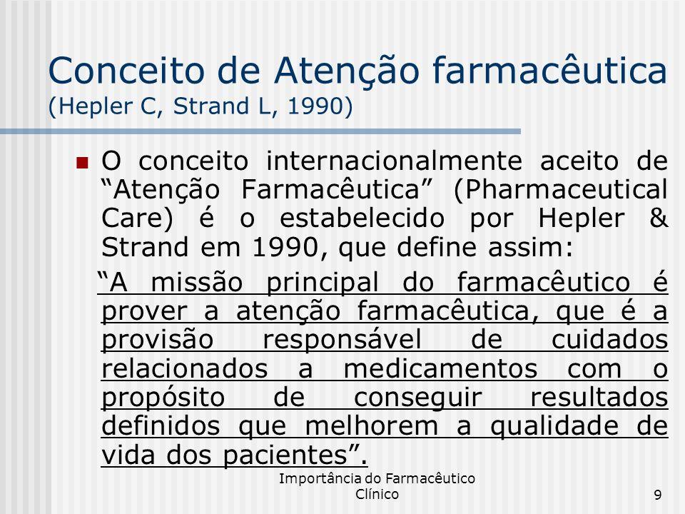 Conceito de Atenção farmacêutica (Hepler C, Strand L, 1990)