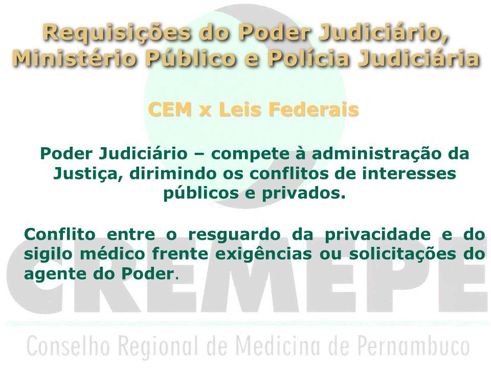 CEM x Leis Federais Poder Judiciário – compete à administração da Justiça, dirimindo os conflitos de interesses públicos e privados.