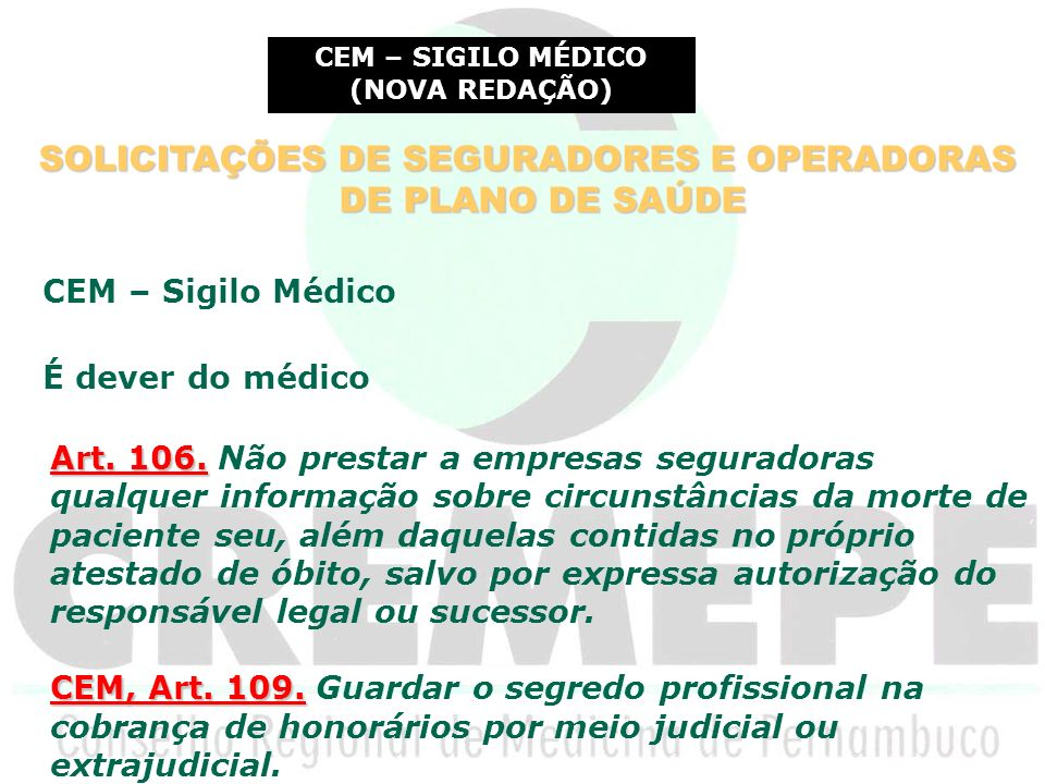 SOLICITAÇÕES DE SEGURADORES E OPERADORAS DE PLANO DE SAÚDE