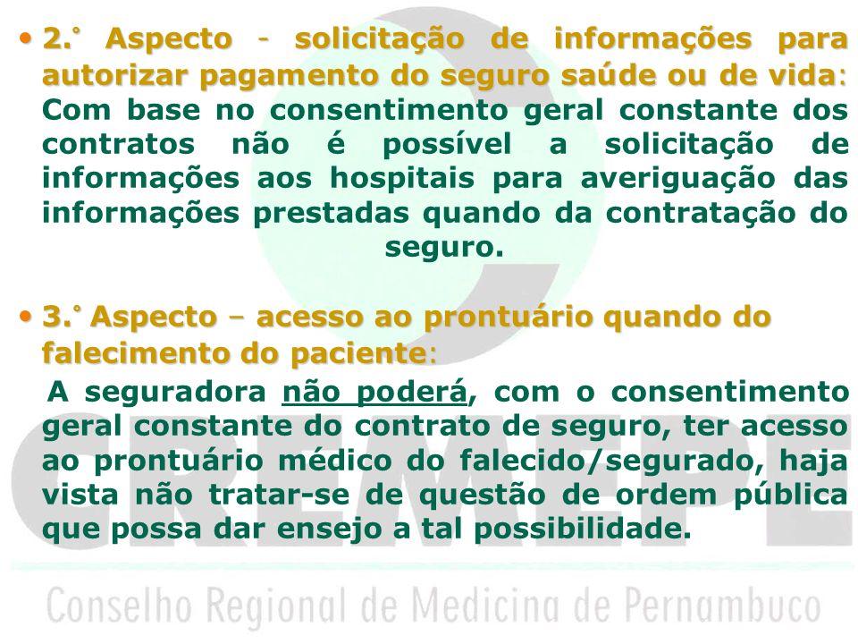 3.° Aspecto – acesso ao prontuário quando do falecimento do paciente: