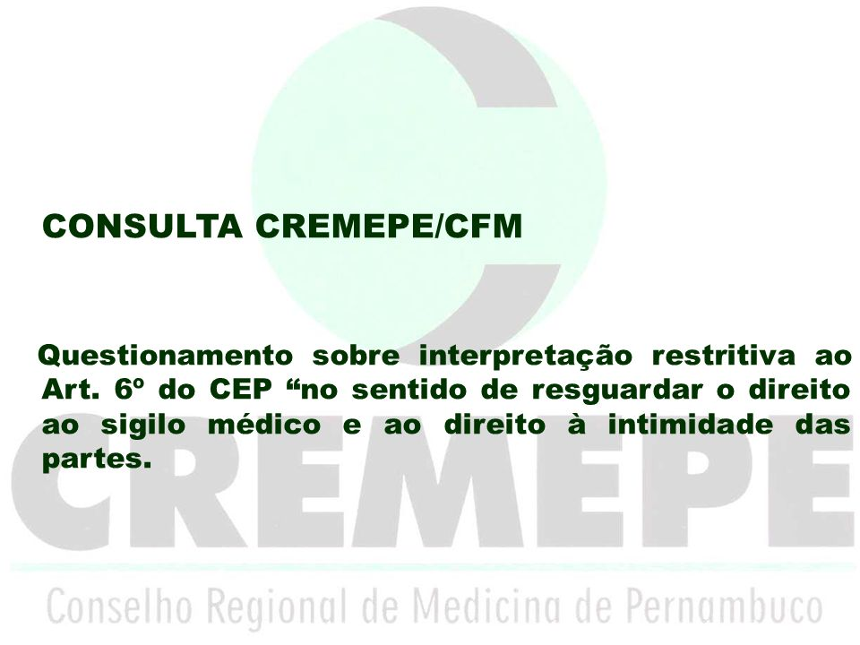 CONSULTA CREMEPE/CFM