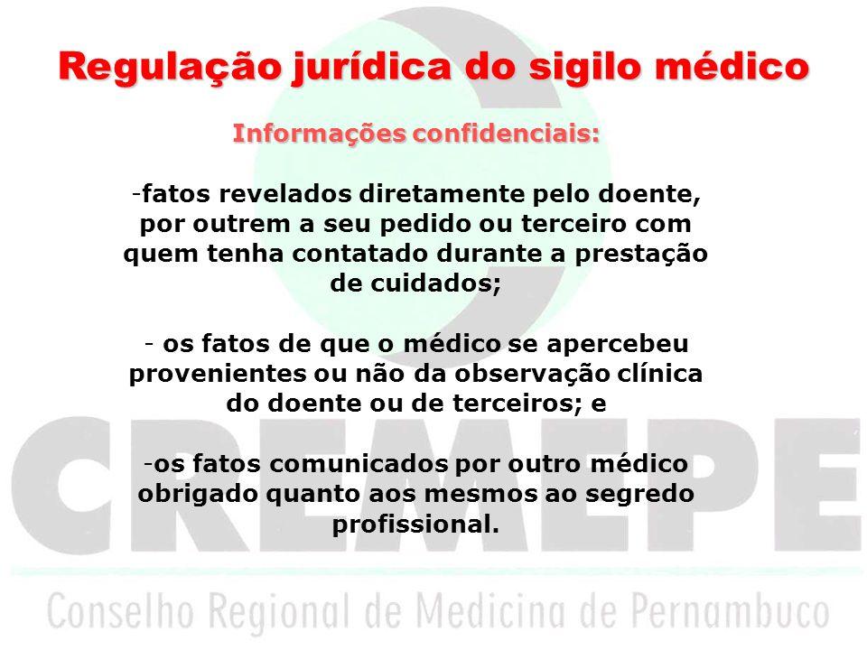 Regulação jurídica do sigilo médico Informações confidenciais: